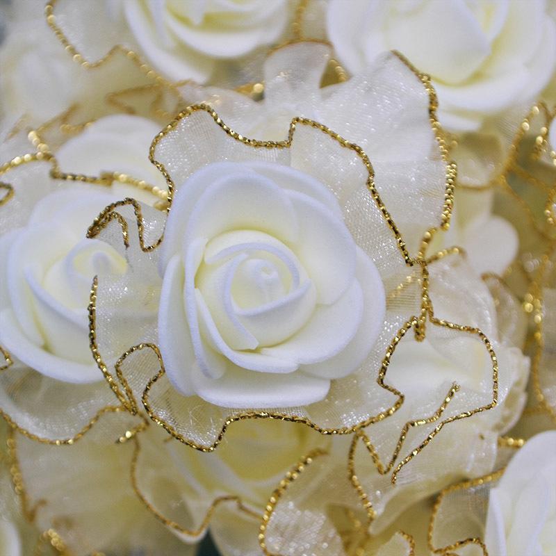 20 pcs 4 cm Glitter Franja Flores De Espuma De Seda DIY Artesanal Artificial Rose Cabeças de Flor para o Casamento Tutu Decoração Cabeça Flores
