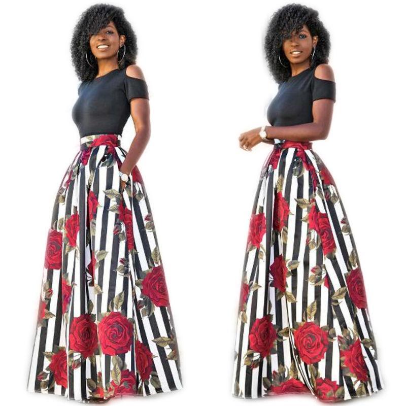 İki adet Günlük Kadınlar Maxi Elbiseler Kısa Kollu Siyah Üst Uzun Çiçekli Desenler Giydirme Plus Size vestidos