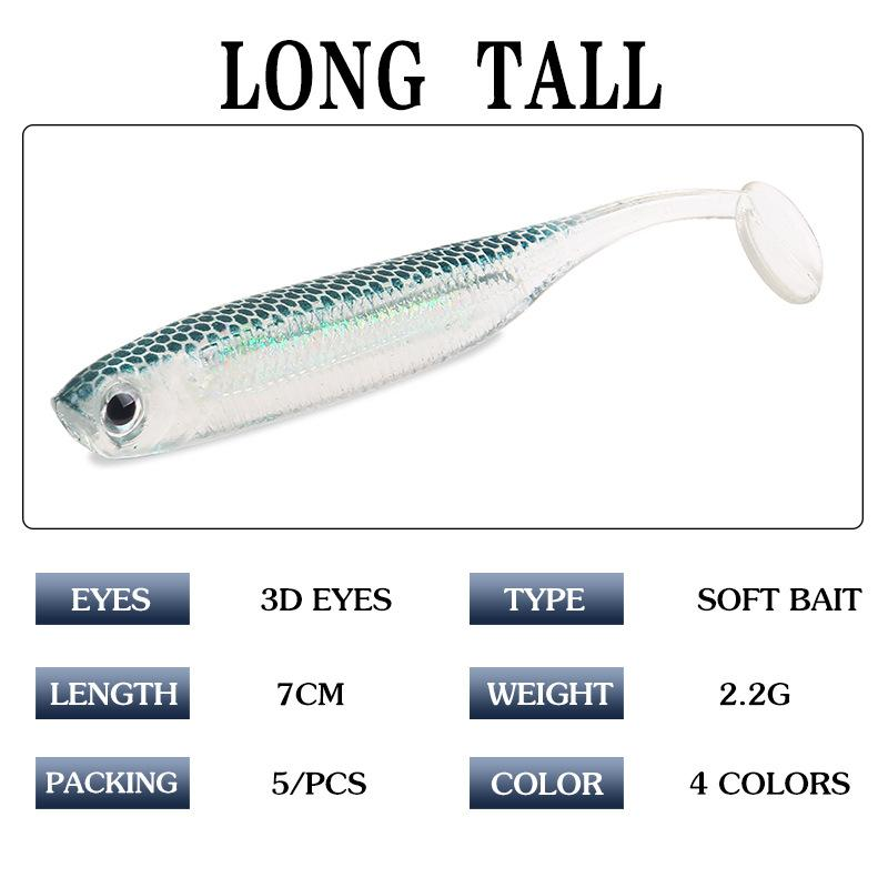 New Realistic Artificial gamefish Shad Soft Jerkbait 7cm 2.2g Silicon Rubber Freshwater injured baitfish fishing lure 5pc/lot