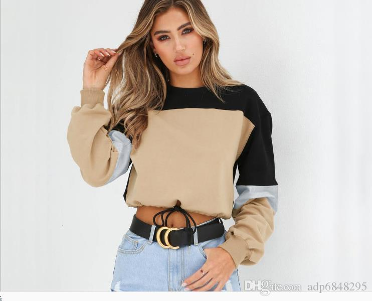 Autumn Four Color Short Sanitary Clothes 2019 New Women's Clothes Spring and Autumn Thin Tide Loose Stitching Long-sleeved Round-collar Draw