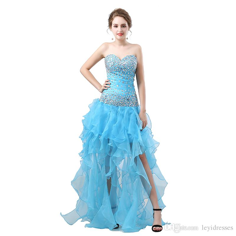Strapless Ruched Mermaid Evening Dresses Floor Length Sequins Beaded Crystals Ruffles Split Party Dress Formal Pageant Celebrity Gowns
