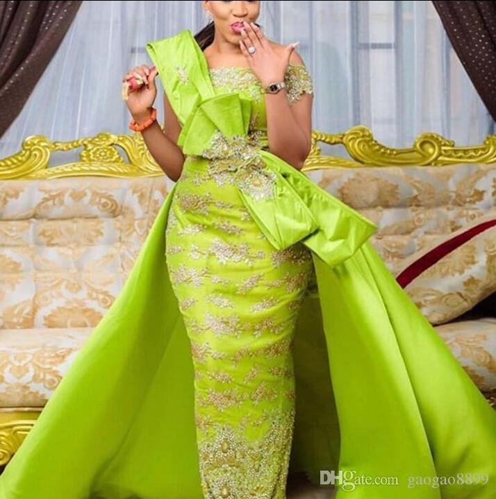 2019 middle east Arabic Light Green Off Shoulder Lace Mermaid Prom Dresses with Satin Tail Beaded Bow Custom Made Evening Dresses Party Gown