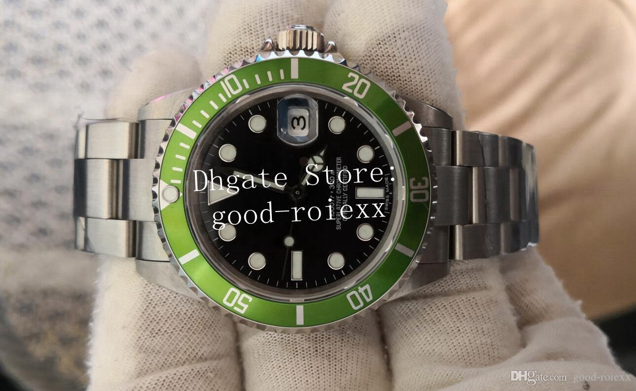 빈티지 남성 시계 남성 자동 아시아 시계 남자 녹색 블랙 합금 베젤 철강 날짜 50 주년 기념 16610LV BP 공장 다이브 손목 시계