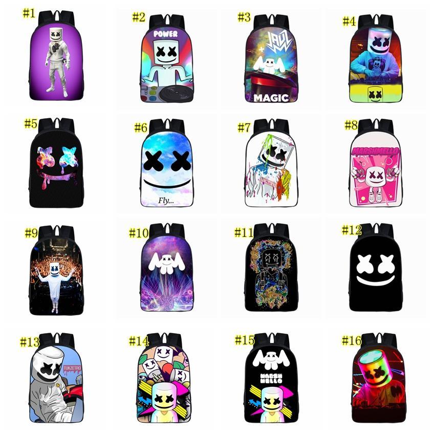 Compre Dj Marshmello Estudante Sozinho Desenho Animado Bolsa Escola Moda Mochilas Jogo 3d Saco Ombros Impressão 16 Cores 42 29cm Mma1532 6 De