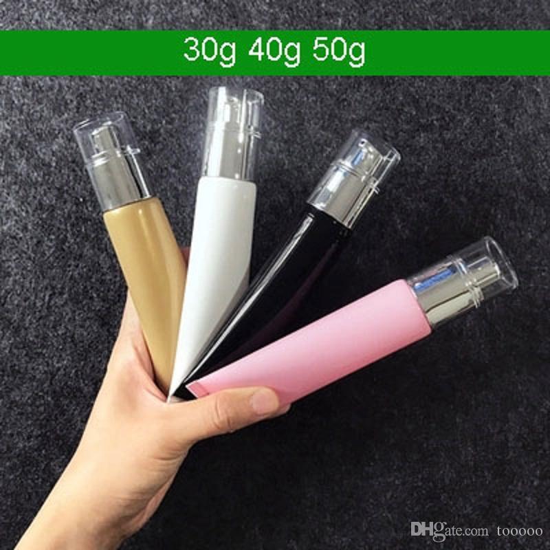 2020 novos 300pcs bomba 50g colorido aperto cosméticos tubo, creme loção recarga embalagem tubo macio com bomba de loção