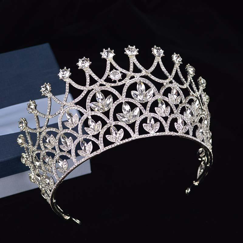 Magnifique Sparkling Silver Grand Mariage Diamante Pageant Diadèmes Bandeau Cristal De Mariée Couronnes Pour Les Mariées Cheveux Bijoux Headpiece C18112001