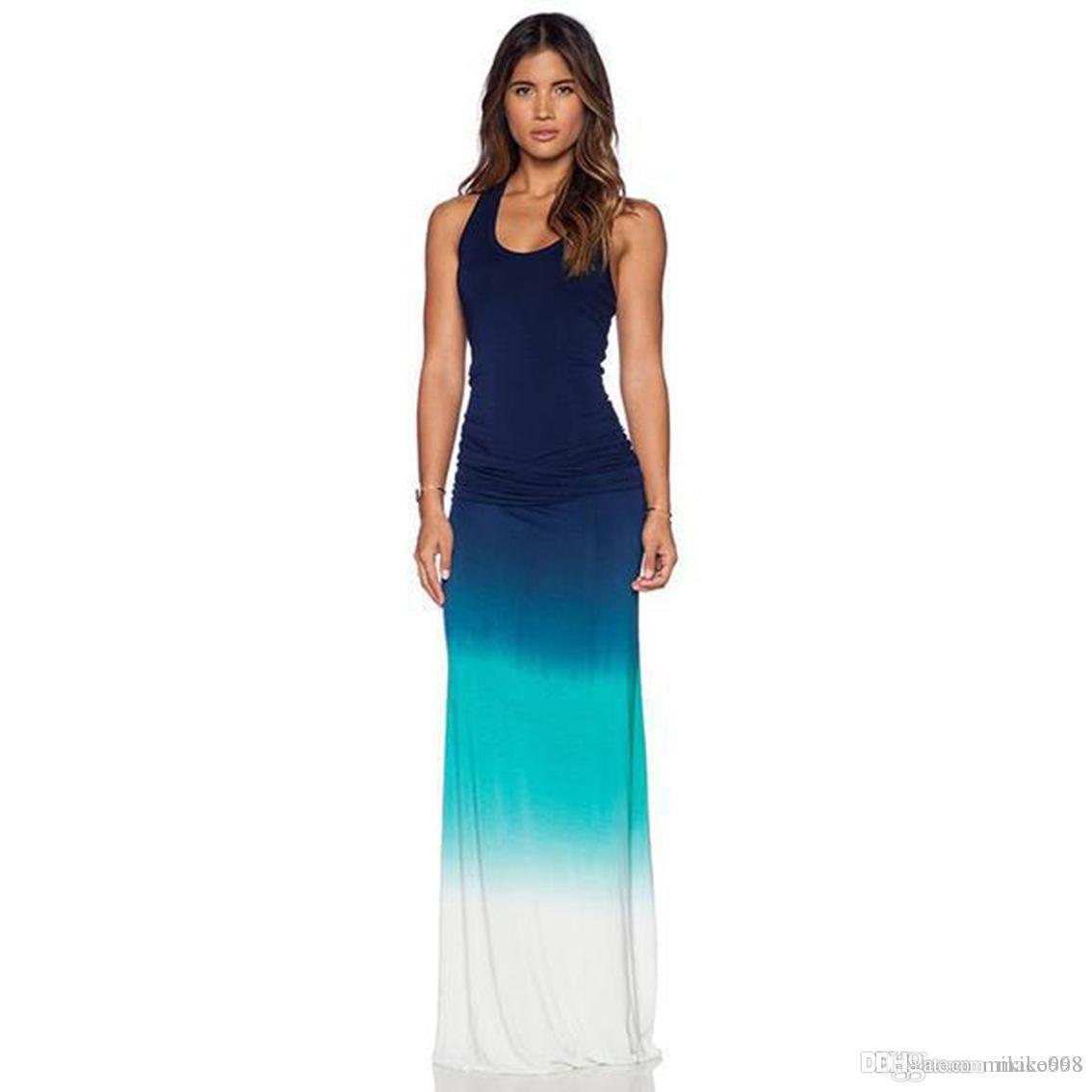 Yeni kadın elbise plaj tabanı kolsuz yelek gevşek degrade kod baskılı elbise