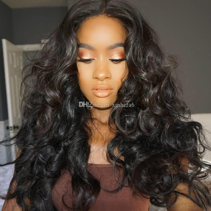 Top quality Virgin Brazilian Hair Glueless Front Lace Wigs Brazilian Deep Wave Human Hair Braiding Full Lace Wig with baby hair