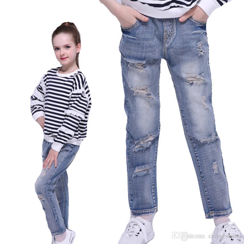 Compre Pantalones Vaqueros Lavados Para Ninas Pantalones De Mezclilla Rectos Pantalones De Primavera Para Ninos Pantalones Rotos De Otono Leggings Para Ninos 4 8 9 10 12 Anos Chicas A 17 42 Del Changshauu Dhgate Com