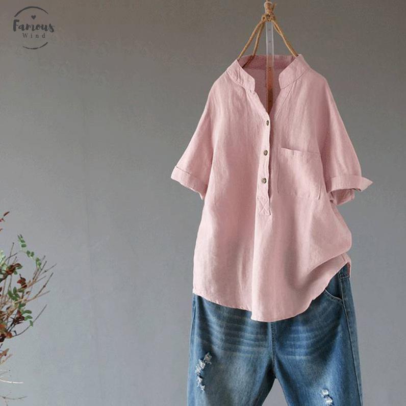 Verano mujeres elegantes de cuello en V manga corta blusa suelta sólido señoras sólidas ocasional de la camisa de algodón de lino Top Femininas Robe Blusas