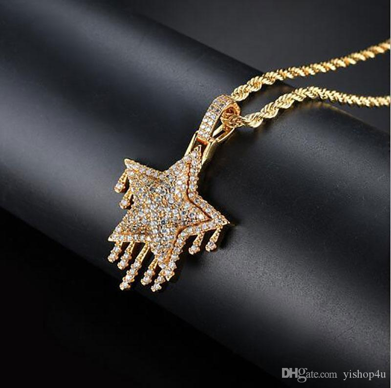 MEN HIP HOP ICED OUT CZ BLING WATER DROPLETS STAR PENDANT NECKLACE Micro Pave Cubic Zirconia Simulated Diamonds Necklace