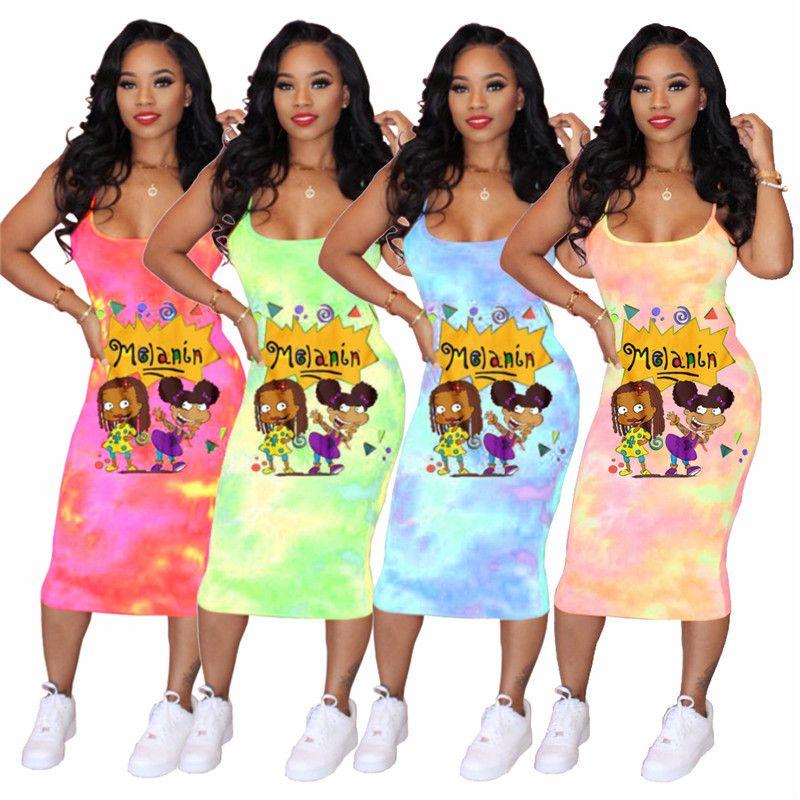 Женская мода Tie-краситель Платье мультфильм печать One Piece Холтер юбка лето рукава одежда высокого качества на открытом воздухе вскользь платье партии