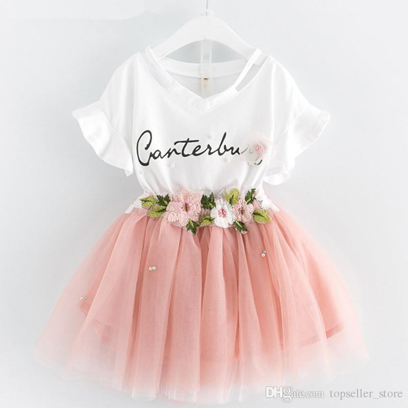 Kids Girls Clothing Sets 2019 Summer Brand Girls Clothes White Cartoon Short Sleeve T-Shirt+Dress 2Pcs Children Clothes