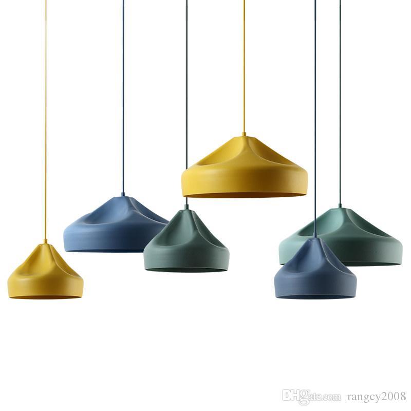 Modern simple pendant lights macaron colorful lovey Kids room bedroom foyer LED droplight cube model metal lampshade E27 bulb
