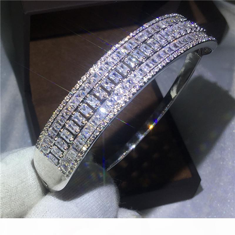 المرأة سوار الأزياء والمجوهرات 925 الفضة مليئة الوصول الكامل Diamonique CZ الزفاف الاشتباك الإسورة الأساور للحزب هدية جديدة