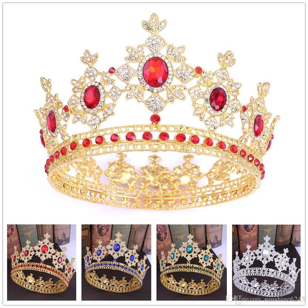 5 Farben Crystal Königin Runde Kronen Barock Königs König Strass Big Tiaras Kopfbedeckungen Prinzessin Hochzeitskronen Schmuck Geschenke
