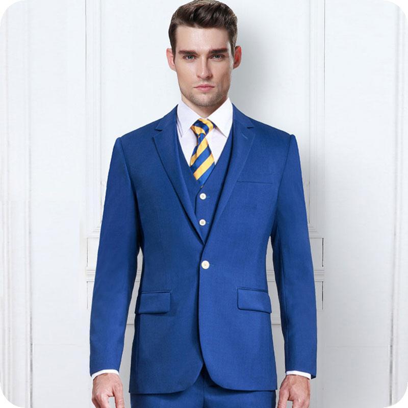 Azuis 2019 Homens ternos para casamento Slim Fit Noivo Smoking Custom Made Groomsmen Suit Man Blazer 3piece Últimas Brasão Pants Costume Homme partido