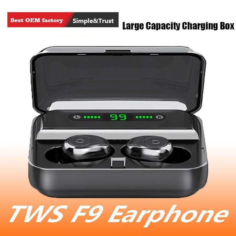 F9-5 sans fil Bluetooth 5.0 écouteurs écouteurs stéréo Invisible Noise Cancelling LED Waterproof Affichage numérique Touch Control