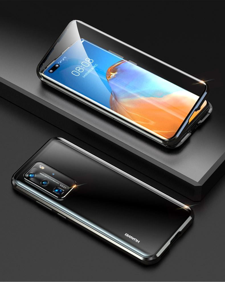 Luphie Camera Lens Protection Magnetic Adsorption Double Sided Tempered Glass Case For Huawei P40 P40 Pro Samsung Galaxy S20