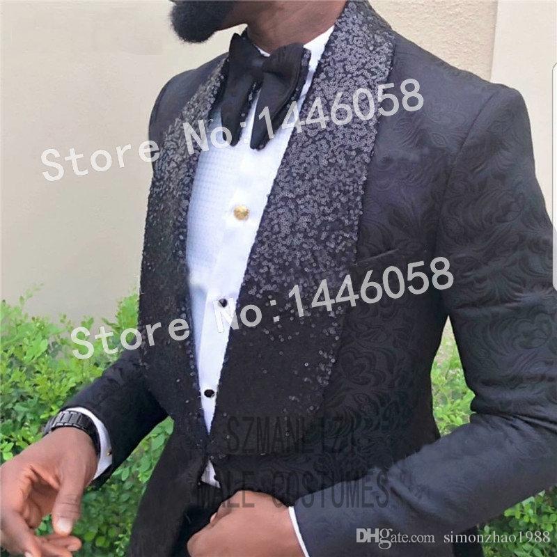 2019 Nouveau Design Costume De Fête Formelle Hommes Marié Tuxedos Costme Homme Terno Blazer Sequin Revers Noir Hommes Costumes De Mariage Meilleur Costume Homme