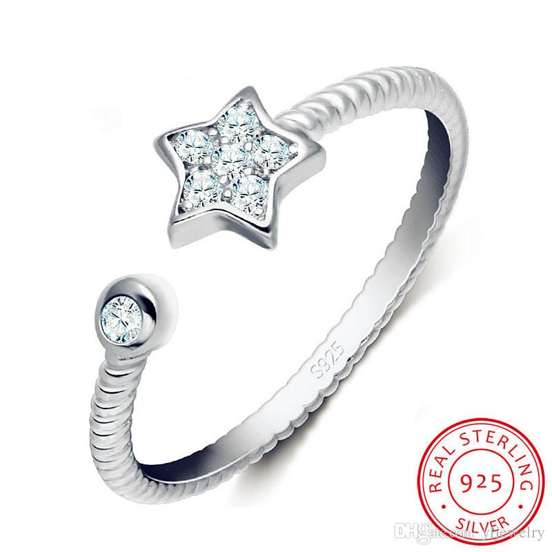 New Fashion Original 925 Solid Silver Ring Star Design Temperament Ring CZ Zircon Tail Ring Opening Can Be Adjusted Jewelry XR011