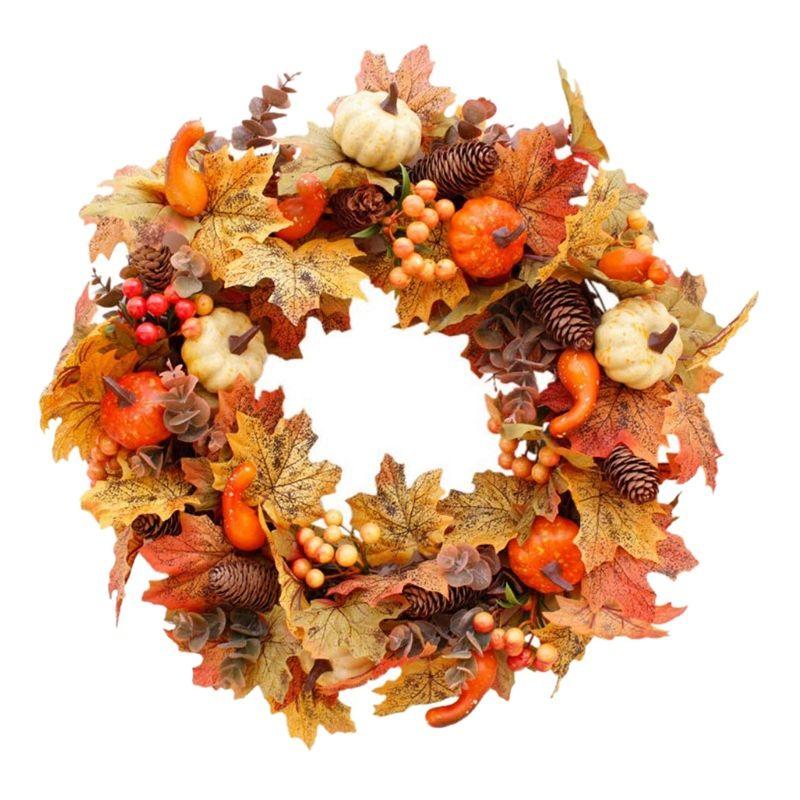 Sonbahar Temalı Kapı Çelenk Yapay Kabak Karpuzu Pine Cone Maple Manmade Garland Bezi Rattan Malzeme Ev Dekorasyon Suppli
