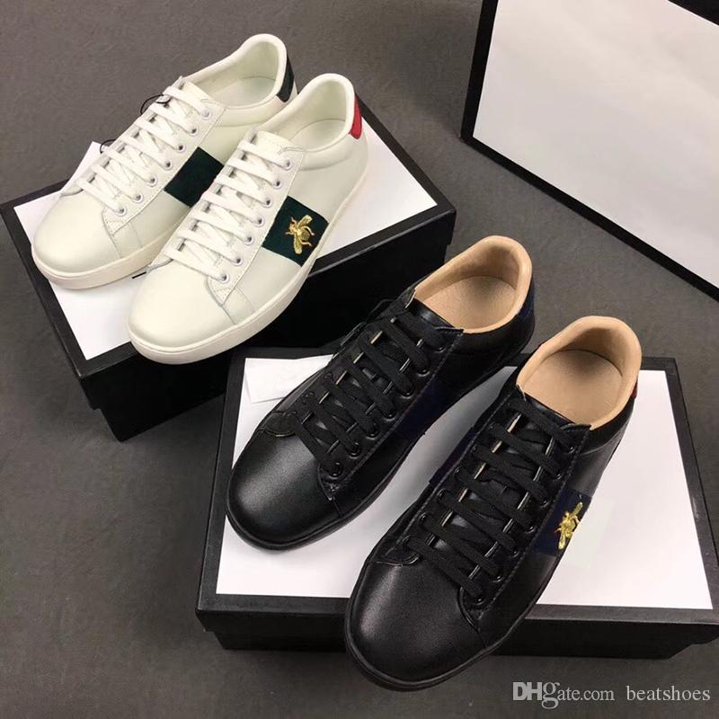 Designer Brand shoes 100% Ace leather sneaker Flower Embroidered python tiger bee Cock men women Classic trainers Love sneakers SZ 5-11