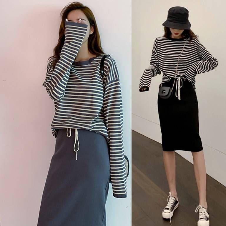 2019 осень и зима новый свободный полосатый с длинными рукавами свитер куртка юбка юбка бедра двухсекционный женщина прилив CX200702