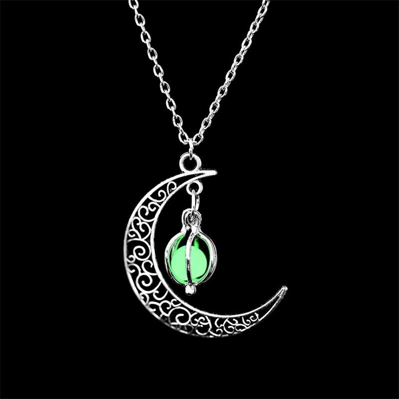 2020 Moon Glowing Necklace Gem Charm Jewelry Silver Plated Women 4 Colors Stone Beads Pendant Hollow Luminous Necklace Gifts