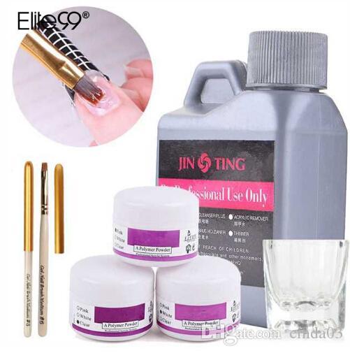 Elite99 6 pçs / set Acrílico LíquidoPó Cristal Prego Polímero Nail Art Tips Builder Caneta Cristal Cup Ferramentas Acrílicas Em Pó Todo o Conjuntos
