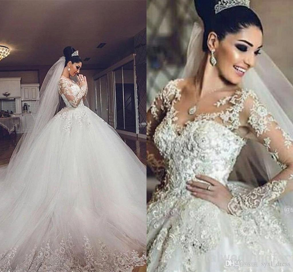 2019 럭셔리 빈티지 아랍어 레이스 공 가운 웨딩 드레스 신부 가운 깎아 지른 긴 환상 슬리브 스윕 열차