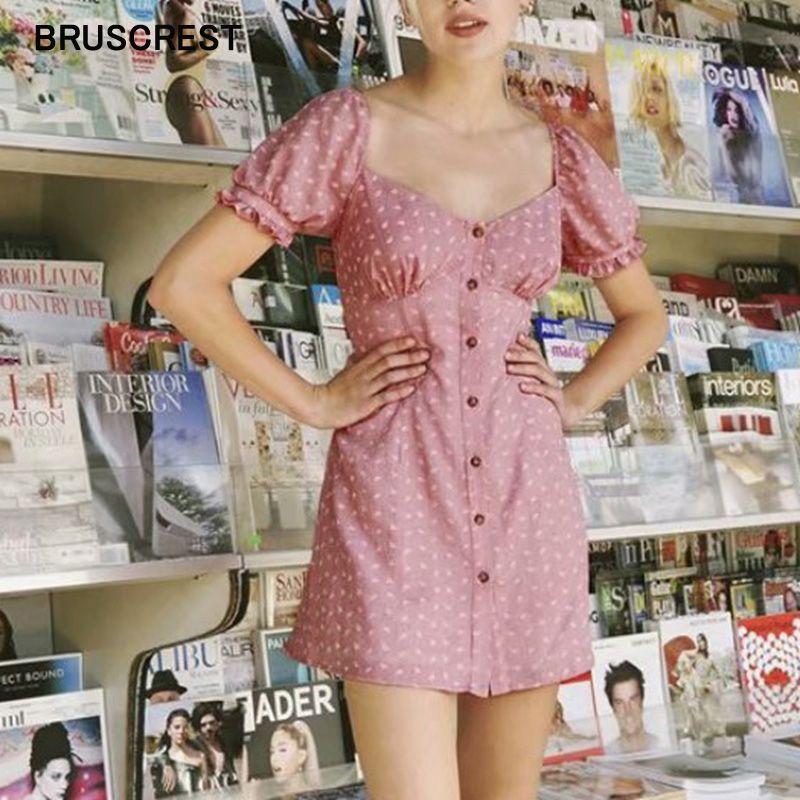 Rosa Blätter Hauchhülse beiläufige Kleidquadratansatz Sommerkleid Boho Rüsche Minikleider Kurzarm Strand sexy Party Vestidos