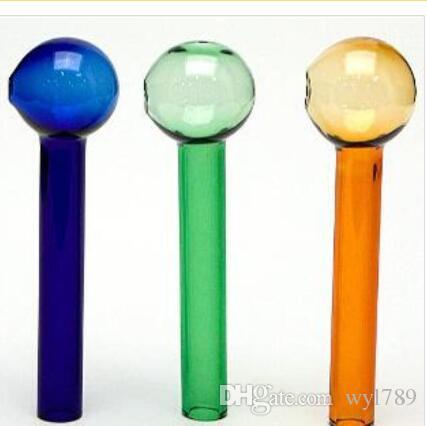 farbiger Ölbrenner dickes 10cm Glasrohr buntes Glasrohr Glashauchschüssel blauer grüner Bernstein ganz klares jh345