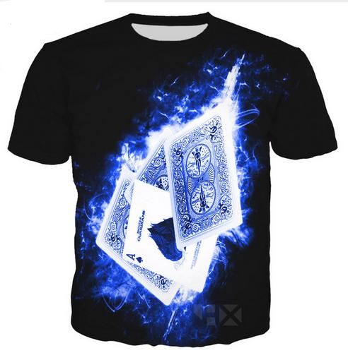 Casual Mens Womans Carte da gioco 3D HD Stampa T-shirt Estate a maniche corte T-shirt O-Collo Stile di modo Unisex Shirt Marca Tees DX045