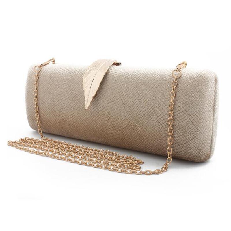 Faux Suede Evening Clutch Bag For Women Long Design Clutch Bag Gold Color Metal Leaf Lock Wedding Purse Female Handbag Bolsa