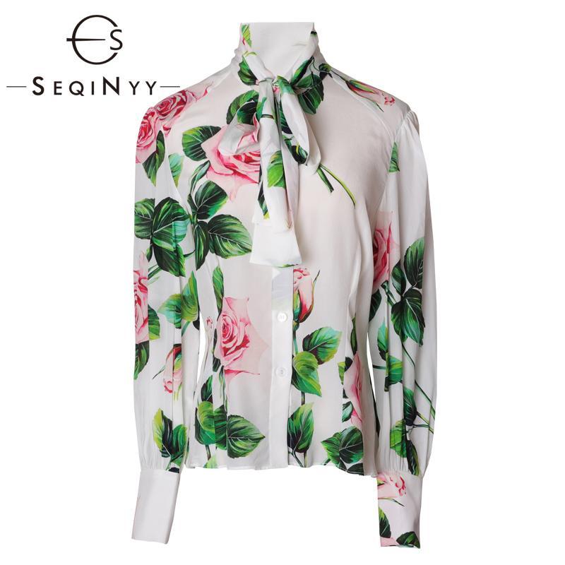 SEQINYY шелковая рубашка 2020 лето весна Новый дизайн моды Женщины Длинные рукава высокого качества Цветы Печать Наверх