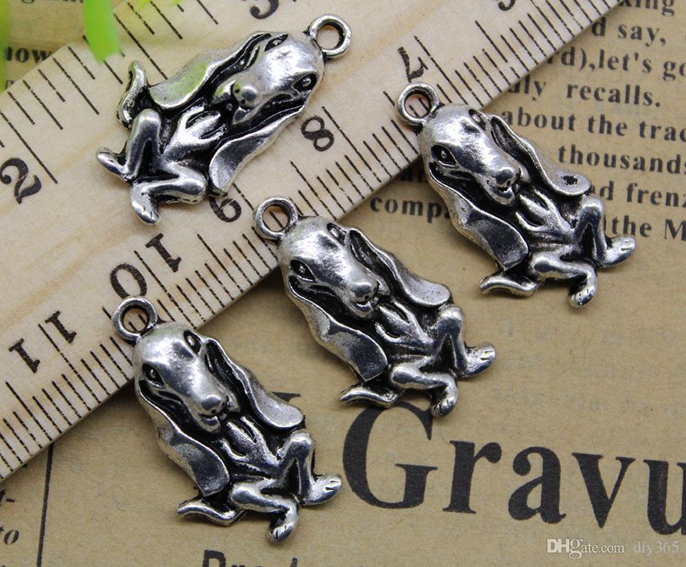 Venta al por mayor 100 unids mascota perro aleación encantos colgante Retro joyería que hace DIY llavero antiguo colgante de plata para pulsera pendientes 24x13 mm