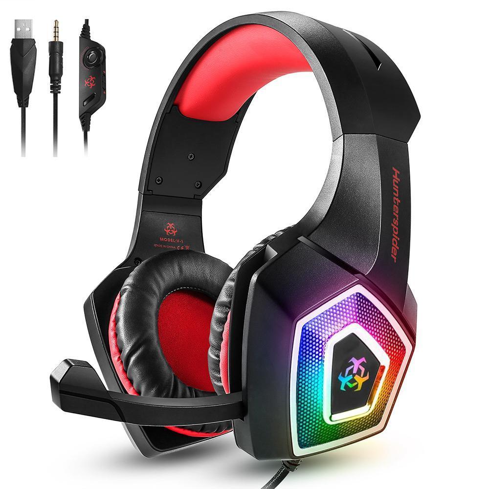Hunterspider V1 Gaming Headset über Ohr-Kopfhörer verdrahtete Steuerung mit Mic-LED-Licht Casque Gamer Headset für PC Ps4 Xbox One T6190617