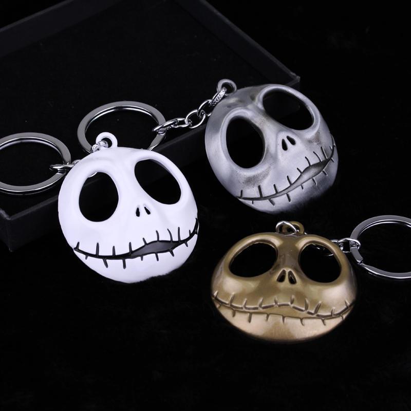 Articoli da regalo catena chiave del cranio del fumetto Portachiavi Moda Halloween diavolo del cranio Keychain della testa Oro Argento chiave del metallo dell'anello di Natale Ciondolo DBC VT1049