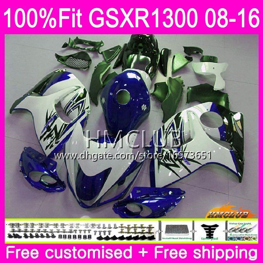 Inyección para SUZUKI Hayabusa GSXR1300 08 13 14 15 16 23HM.75 GSX-R1300 GSXR-1300 GSXR 1300 2008 2013 2014 2015 2016 Hot Blue carenados blancos
