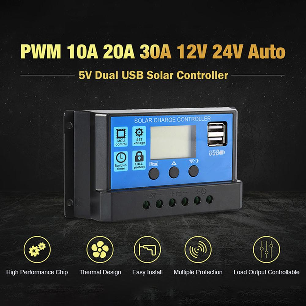 12V / 24V Универсальный панели солнечных батарей Контроллер заряда батареи Регулятор Авто с двойной USB для DIY солнечной энергии 10A / 20A / 30A Опционально