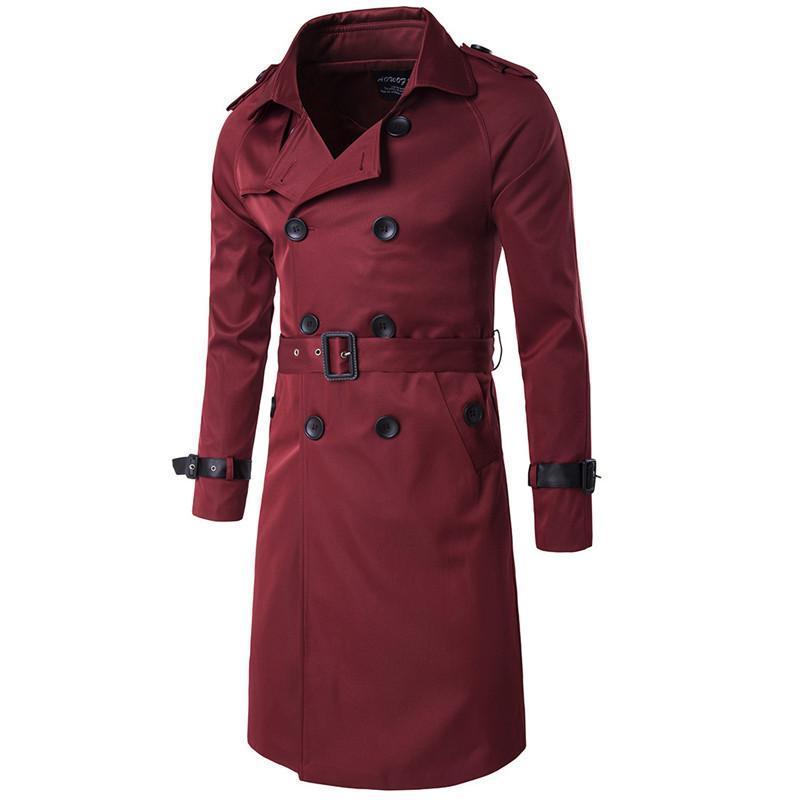 El hombre Breasted Trench Coats cintura ajustable y de la capa de tela charretera Homme largo delgado del doble del estilo de Inglaterra
