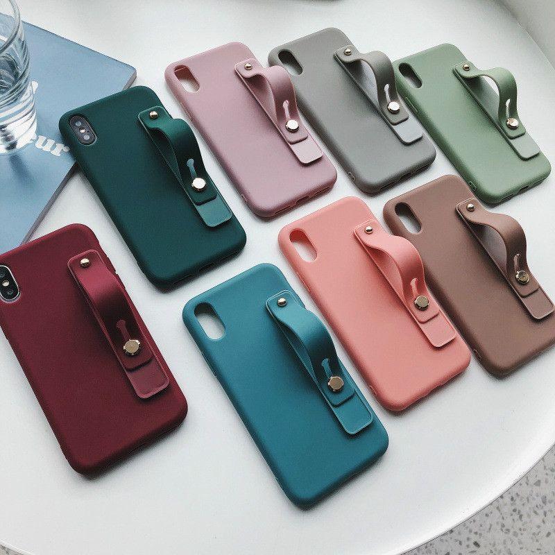 silicone 2020 macio cor sólida manga pulseira ficar caso do telefone móvel iPhone 11 11Pro XS XSMAX 78 6 6S 78Plus X XR