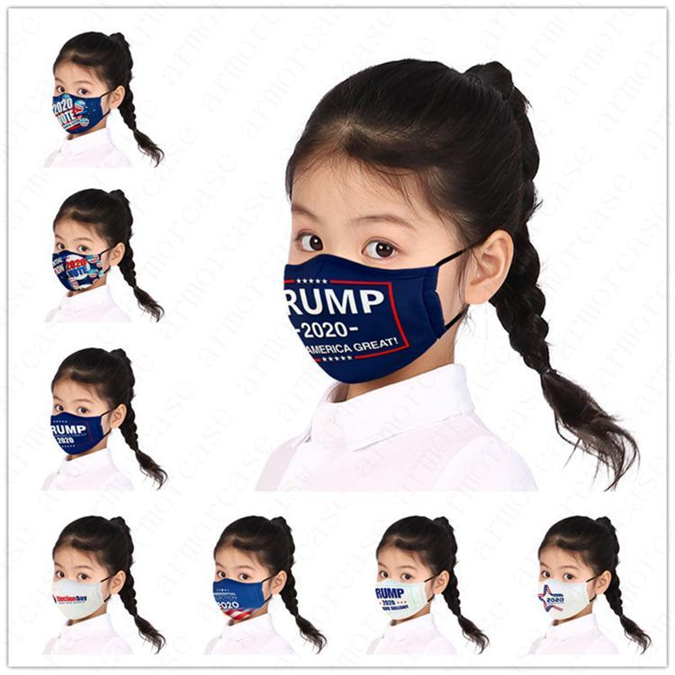 Enfants Masque Visage lettres Designers président Printed Enfants Garçons Filles Masque Trump 2020 Drapeau poussière Fog Marque Masques réutilisables lavables D52810