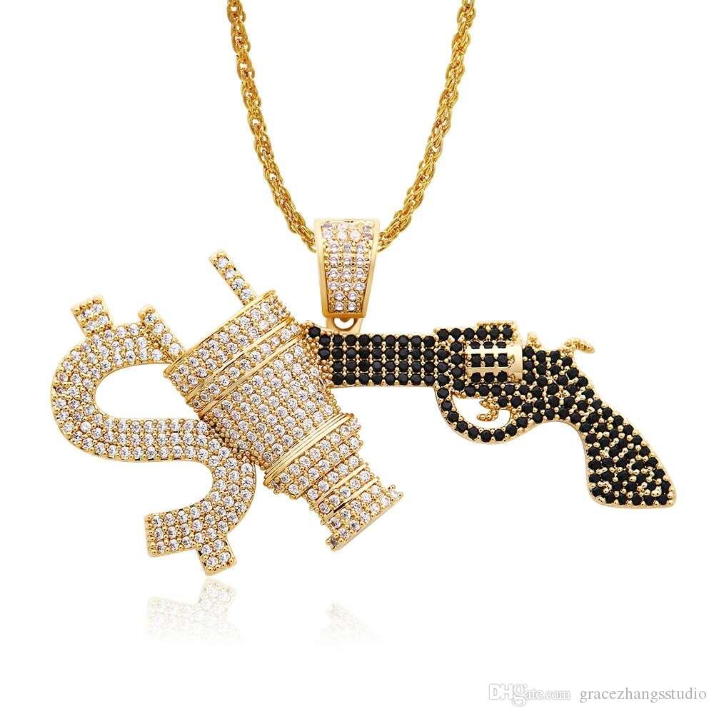 hip hop gun diamonds pendant necklaces for men luxury money plug necklace jewelry gold plated copper black white zircons golden Cuban chain