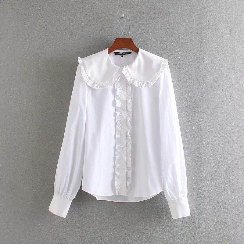 femmes élégantes volants plissés baissez blouse blanche décontractée col bureau dame longue de blusas de chemises Hauts à manches LS6041