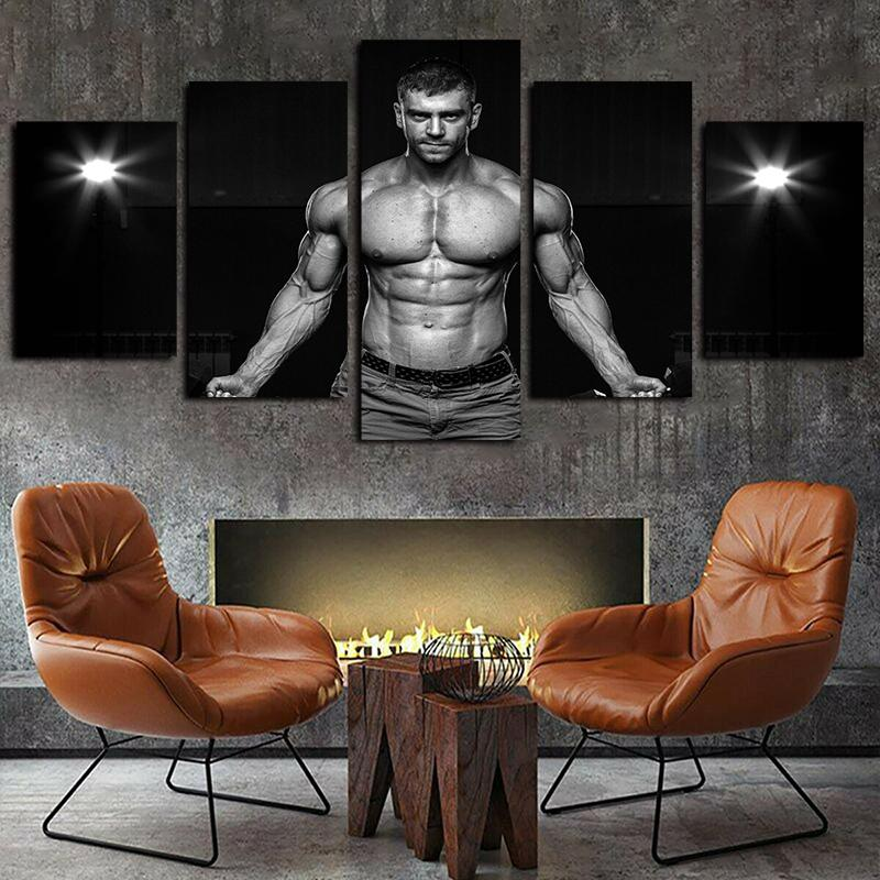 5 paneles Hombres del músculo del vientre blanco y negro Pesas Obras lienzo arte de la pared para la decoración del hogar Kid cartel de la pared impresión de la lona pintura al óleo