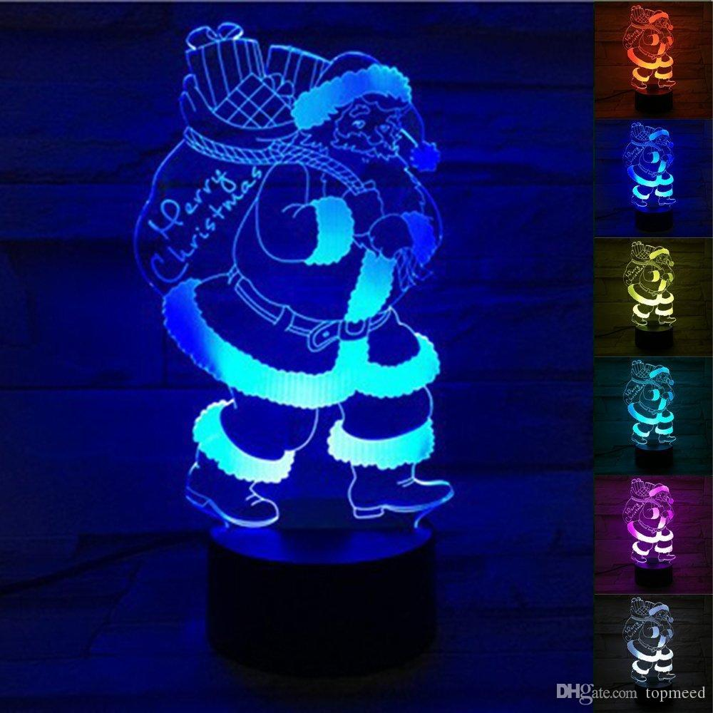 산타 클로스 눈사람 크리스마스 트리 3D 램프 Christams LED 밤 빛 색상 변경 LED 터치 스위치 빛 크리스마스 장식 아이