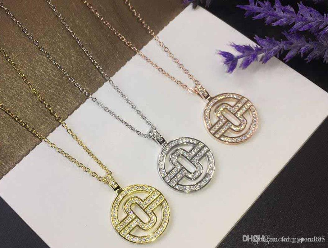 2019 Top Brand Designer Brand Full Diamond Round Fashion Necklace Craft Gold-plated 18K Thick Gold Female Charm Necklace Free Shipping