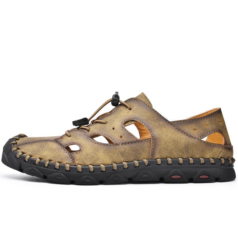 Sandalen Herren Sommer Herren sandels sandles Strand 2020 Sport 2020 Größe Mode sandel Arbeit Männer Gummi großen Ledersicherheitsschuhe für